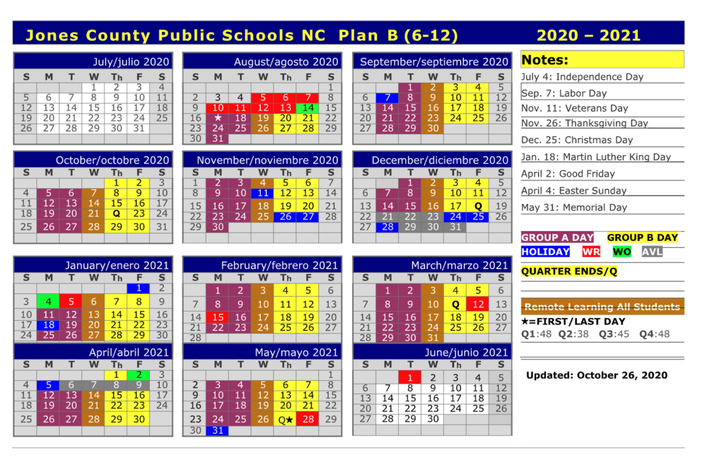 Jones Senior High School (7-12) - JCPS 2020-21 Plan B Calendar!   #TheTrojanWay