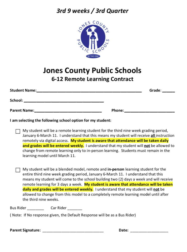 JCPS 6-12 Virtual / Blended Selection form for 3rd 9 Weeks - Due Monday 12.14.2020